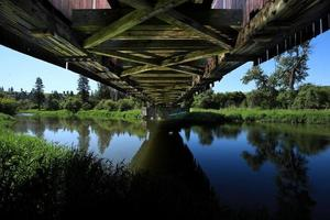 onder de brug op het platteland in palouse washington foto