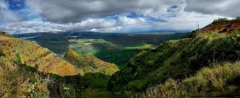 panoramisch uitzicht op de wiamea-canyon in kauai, hawaii foto