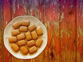 koekjes op de houten achtergrond foto