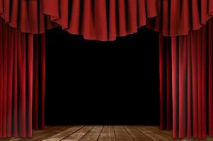 theatergordijnen met houten vloer foto