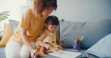 gelukkige vrolijke azië familie moeder leert meisje verf gebruiken album en kleurrijke potloden plezier ontspannen op de bank in de woonkamer thuis. tijd samen doorbrengen, sociale afstand, quarantaine voor coronavirus. foto