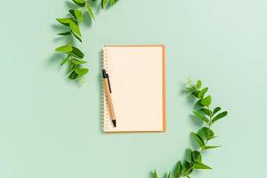 creatieve platliggende foto van een werkruimtebureau. bovenaanzicht bureau met open mockup blanco notebooks en potlood en plant op pastel groene kleur achtergrond. bovenaanzicht met mock-up kopie ruimtefotografie.