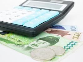 Zuid-Korea won bankbiljet valuta close-up macro met rekenmachine, Koreaans geld foto