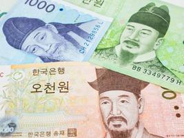 Zuid-Korea won bankbiljet valuta close-up macro, Koreaans geld foto