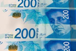 stapel Israëlische geldbiljetten van 200 shekel - bovenaanzicht foto