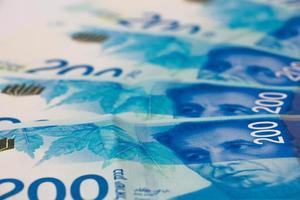 stapel Israëlische geldbiljetten van 200 shekel foto
