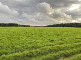 bewolkt landschap met gazon op het platteland foto