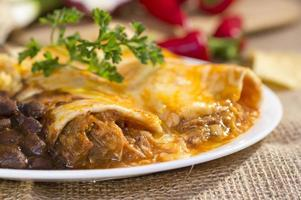 zuidwestelijk rundvlees enchilada. foto