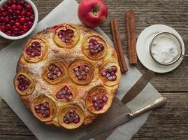 taart met appels, veenbessen en kaneel foto