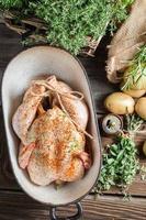 close-up van gekruide kip met kruiden in braadpan schotel foto