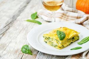 pompoen ricotta spinazie lasagne foto