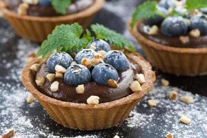 chocolademousse met verse bosbessen en munt in taartjes foto