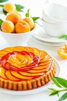 fruitcake met perziken en ricotta. foto