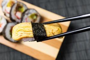 close up van sushi, Japanse zeevruchten