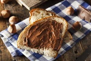 zelfgemaakte chocolade hazelnootpasta foto