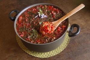 borscht Russische rode soep foto