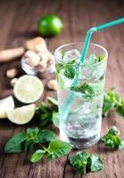 glas mojito met ingrediënten foto