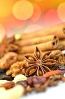 kerst specerijen, noten, koekjes en gedroogde vruchten op bokeh achtergrond foto