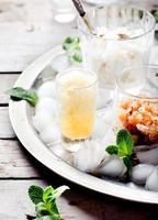 zwarte theesmaak, melk en citroen granita, sorbet foto