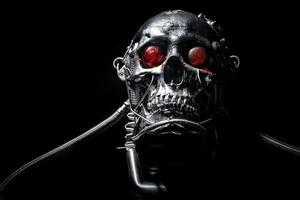 schedel van een robot van menselijke maat foto