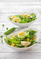 groentesalade met rucola, komkommer en eieren