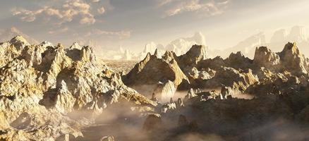 buitenaardse woestijn canyon in de wolken