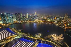 singapore stad skyline uitzicht op marina bay foto