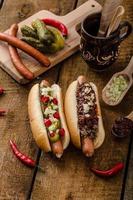 Spaanse peper en vegetarische hotdog