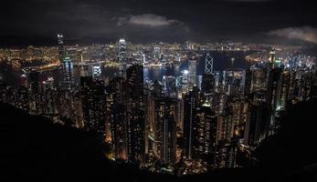 skyline van hong kong vanaf victoria peak foto