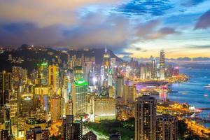 de skyline van de stad van hong kong foto