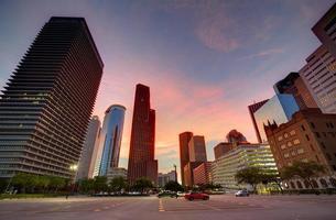 houston downtown skyline bij zonsondergang texas ons foto