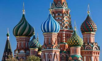 Moskou, Rusland, Rode plein, uitzicht op st. basil's kathedraal foto