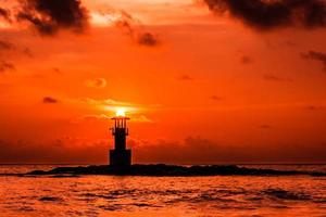vuurtoren op zonsondergang foto