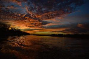 zonsondergang in Belgrado foto