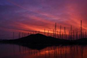 zonsondergang kas marina foto