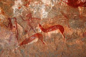 Bosjesmannen schilderijen en rotstekeningen foto