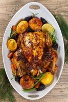 gebakken kip voor kerstdiner foto