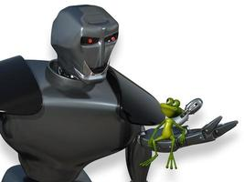 robot en de kikker foto