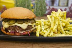 gastronomische hamburger en frietjes foto