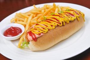 hotdogs en frietjes foto