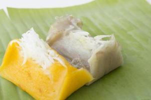 zoete Thaise banaan kokosmelk ingrediënten concept foto