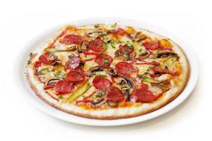geïsoleerde pizza foto