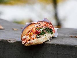 liet een hotdog achter op een prachtige herfstlocatie foto