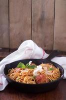 spaghetti met kalkoengehaktballetjes foto