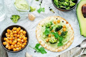 vegan tortilla met geroosterde broccoli en kikkererwten en avocadosaus