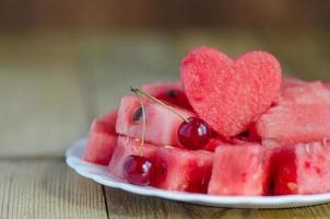 het hart van de watermeloen plakjes watermeloen foto