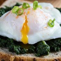 spinazie en gepocheerd ei op bruin brood