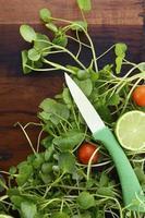 Salade voorbereiding met watercess op houten tafel. foto