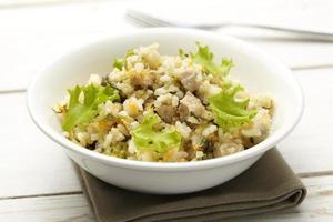 rijst met varkensvlees, wortelen en spinazie
