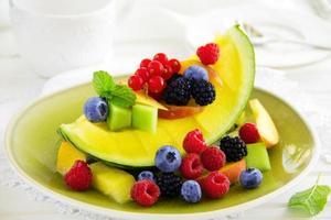 fruitsalade met watermeloen.